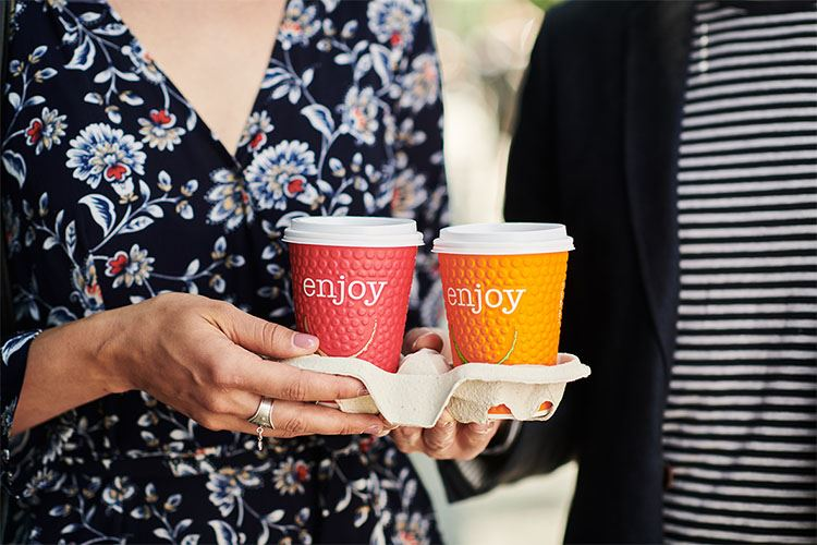 Beverage to go - paper cups for hot and cold drinks